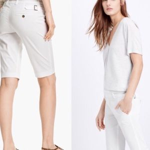 VINCE SIDE-BUCKLE BERMUDA SHORTS.